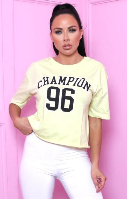 Lime 'Champion 96' Slogan Print Short Sleeve T-Shirt - Nova