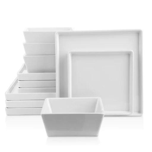 Grace Stoneware Dish Set, 12-Piece Square Dishes for 4, White