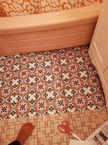 how to cover ugly mosaic tile floors