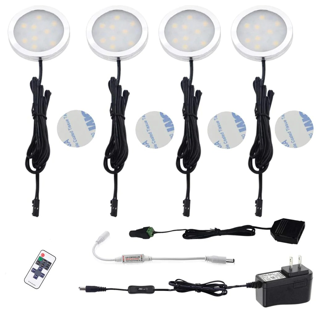 aiboo led under cabinet lighting kit 4 packs of 12v puck lights with rf dimmable wireless rf remote control for kitchen closet gun safe lighting