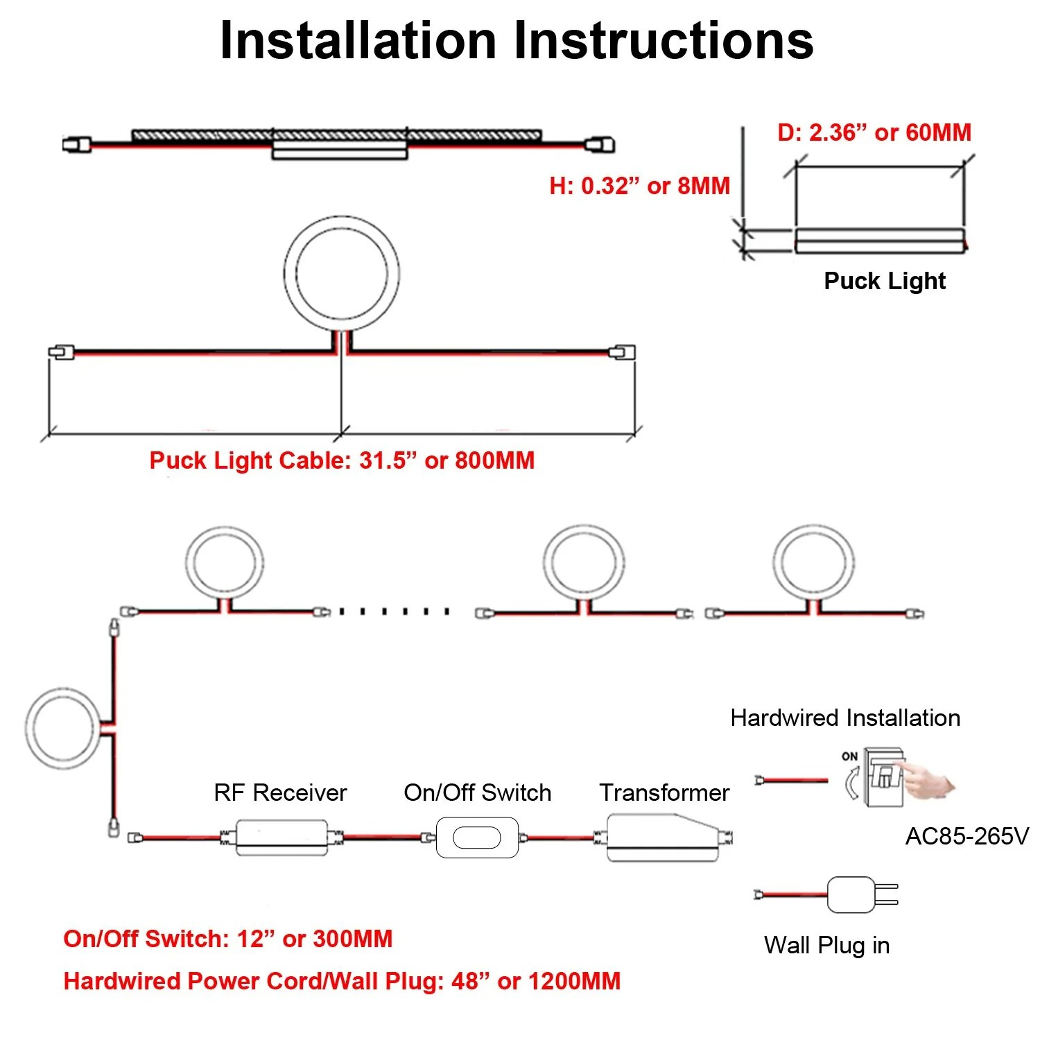 aiboo linkable under cabinet led lighting 12v dimmable puck lights with wireless rf remote control hardwired wall plug in for kitchen mood lighting