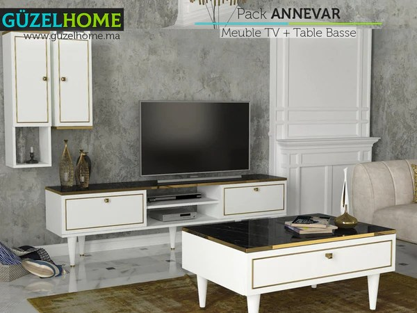annevar pack meuble tv table basse guzelhome