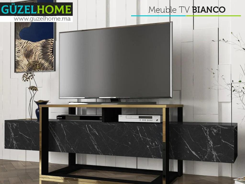 meuble tv bianco marbre noir et dore