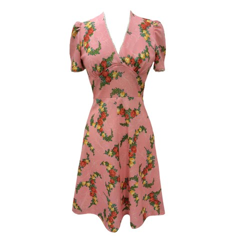 Picture of 1950s floral shirtwaister vintage dress