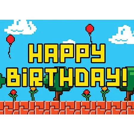 Video Game Happy Birthday Poster A3 Party Supplies Countyfetes