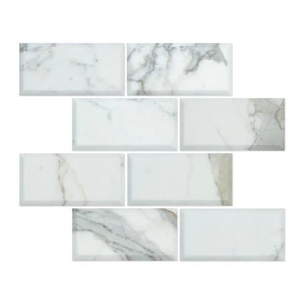 calacatta gold marble 3x6 deep bevelled subway tile