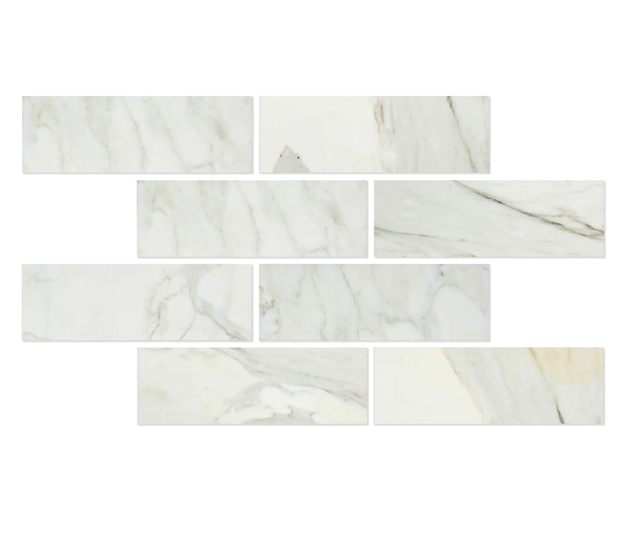 calacatta gold marble 4x12 subway tile