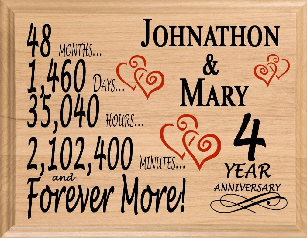 4 Year Anniversary Gift Sign Personalized 4th Wedding