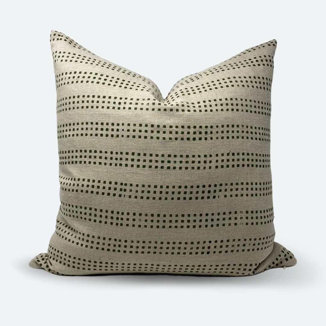 20x20 pillow cover green dot block print no 2