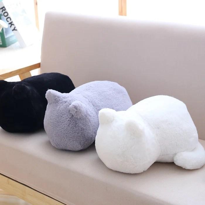 soft stuffed cat shaped plush pillow