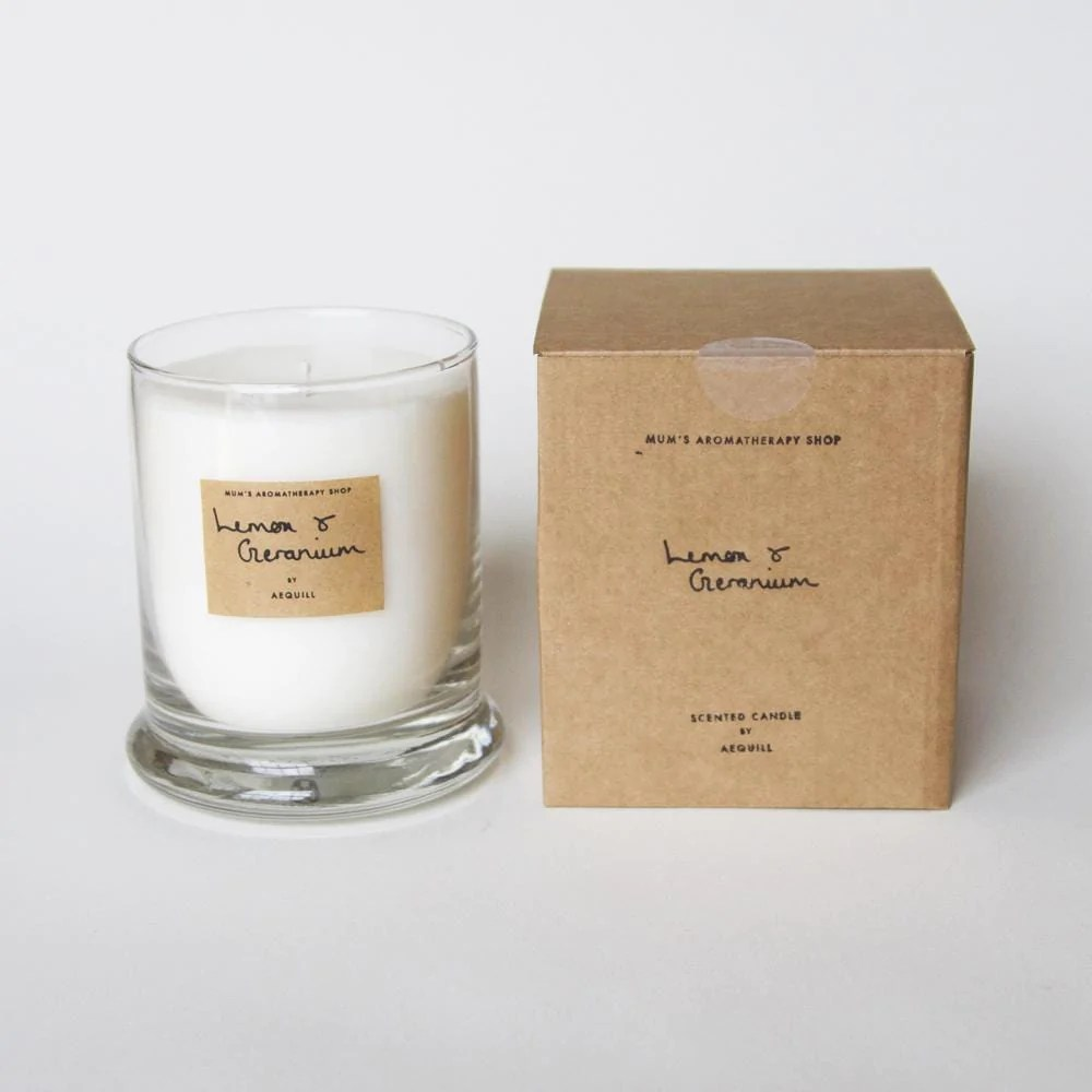 Lemon Geranium Uplifting Scented Candle Luxury Candle Gift Aequill