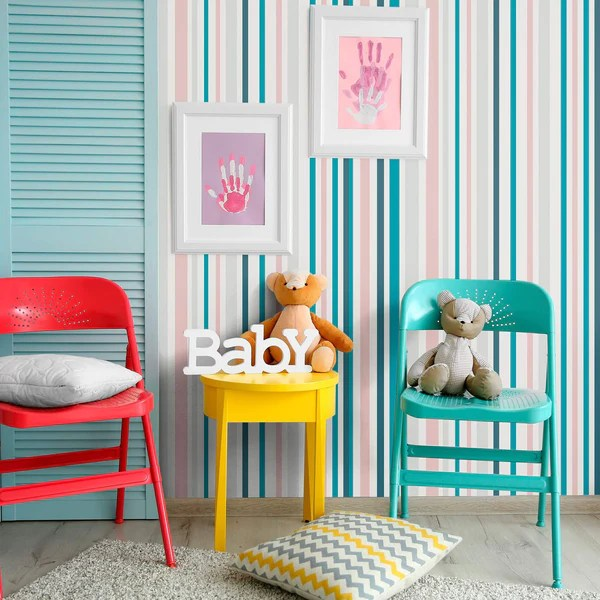 teal and white striped fabric removable wallpaper 0297