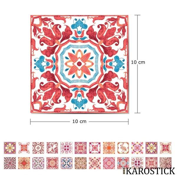 stickers carrelages carreaux ciment camaieu de rouge