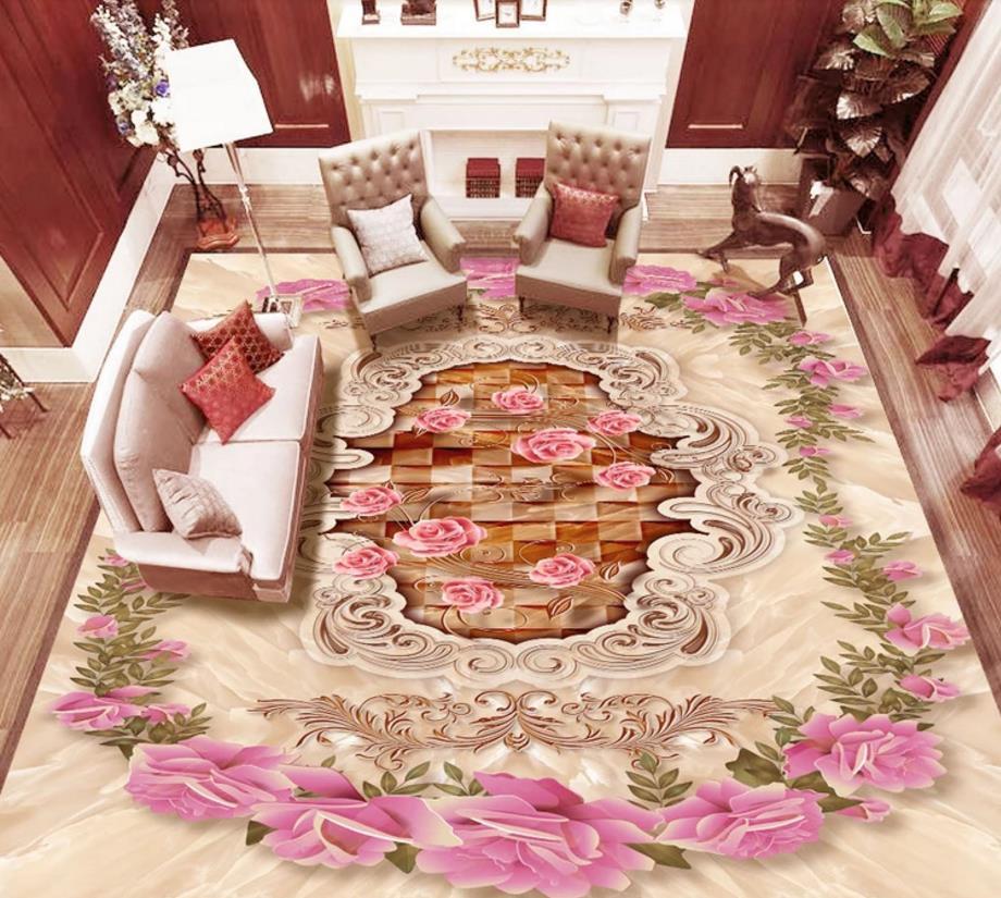 custom 3d flooring murals photo floor wallpapers for living room bedroom rose pattern romantic 3d wallpaper walls