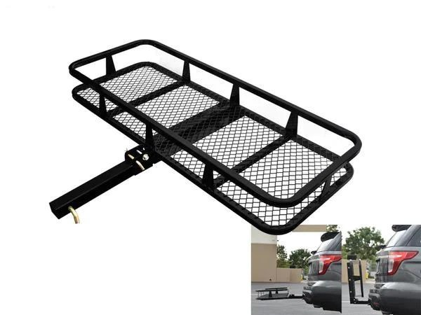 armordillo trailer hitch cargo carrier black basket or tray style fold up