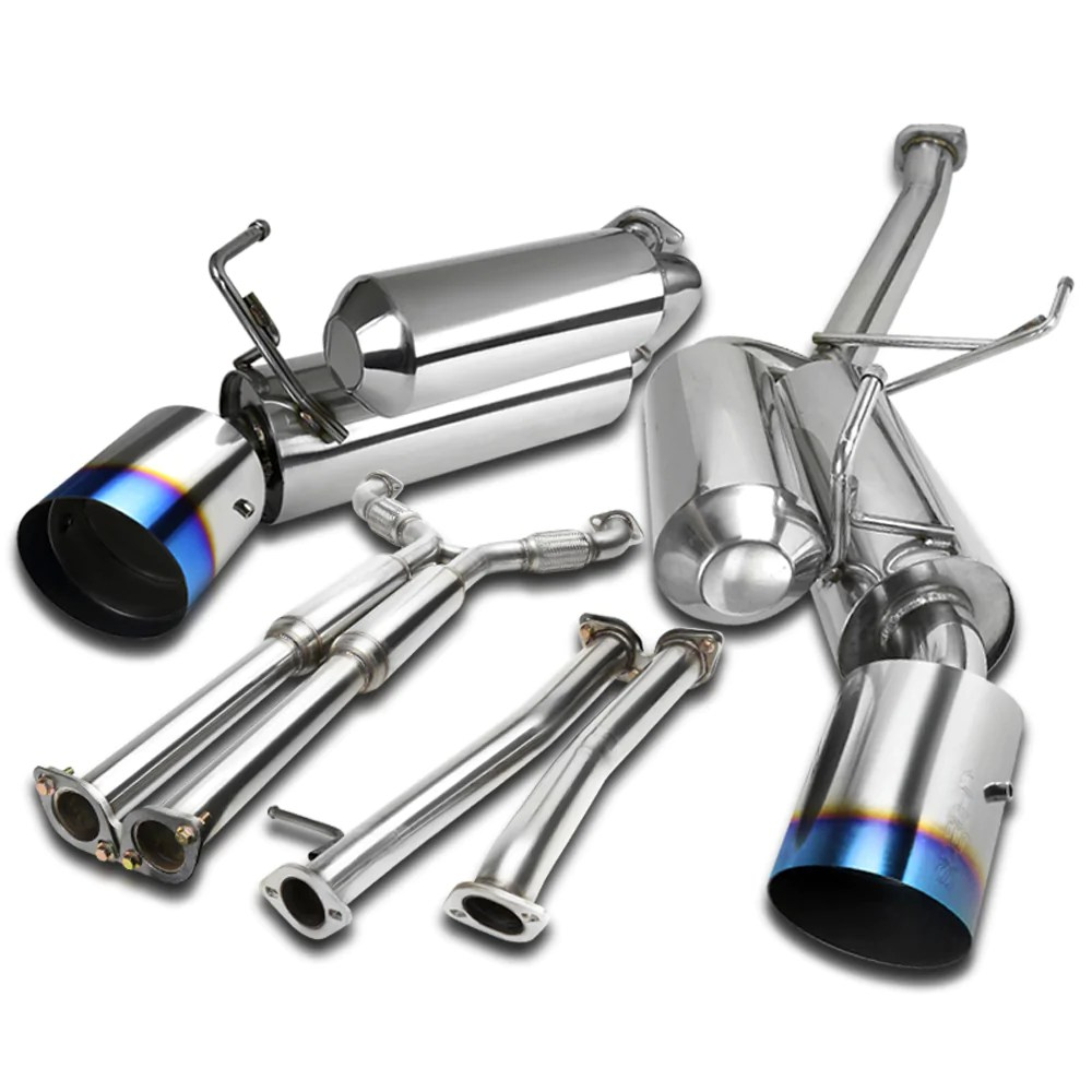 spec d tuning exhaust infiniti g35 coupe 03 07 dual muffler polished or blue burnt tips