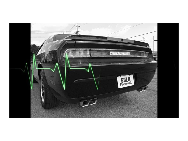 solo performance mach xv catback exhaust dodge challenger sxt v6 09 14 stock round square tips