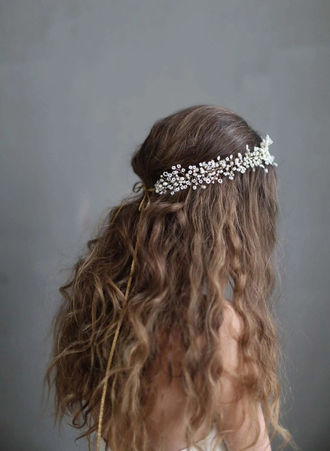 wedding hair vine - dramatic wispy baby's breath hair vine