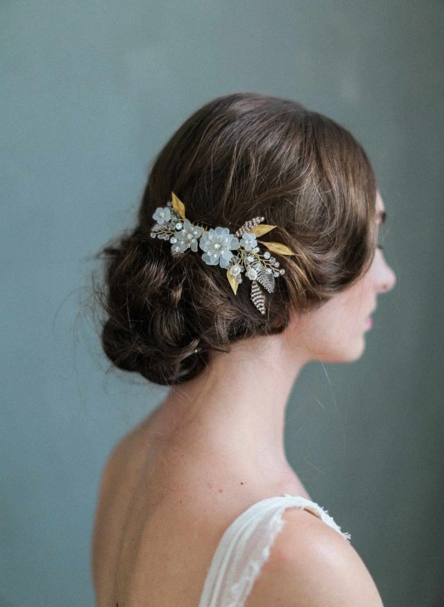 bridal hair comb - mystic floral crystal hair comb - style