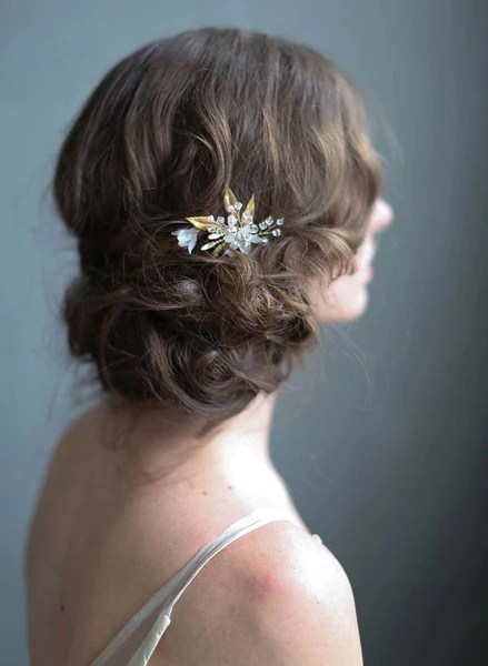 Floral Wedding Hair Pin Frosted Garden Trinkets Bridal