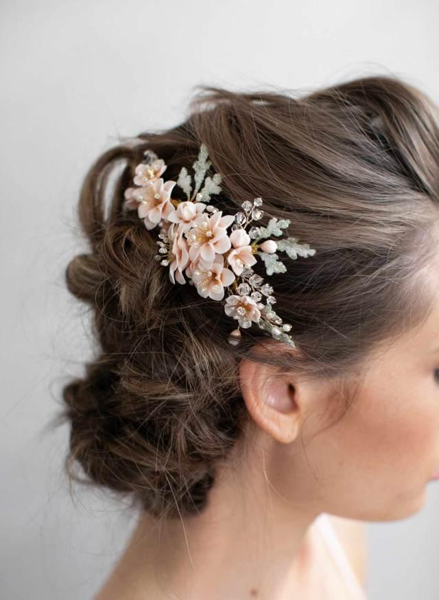 clay flower bridal hair comb - blossom garden hair comb