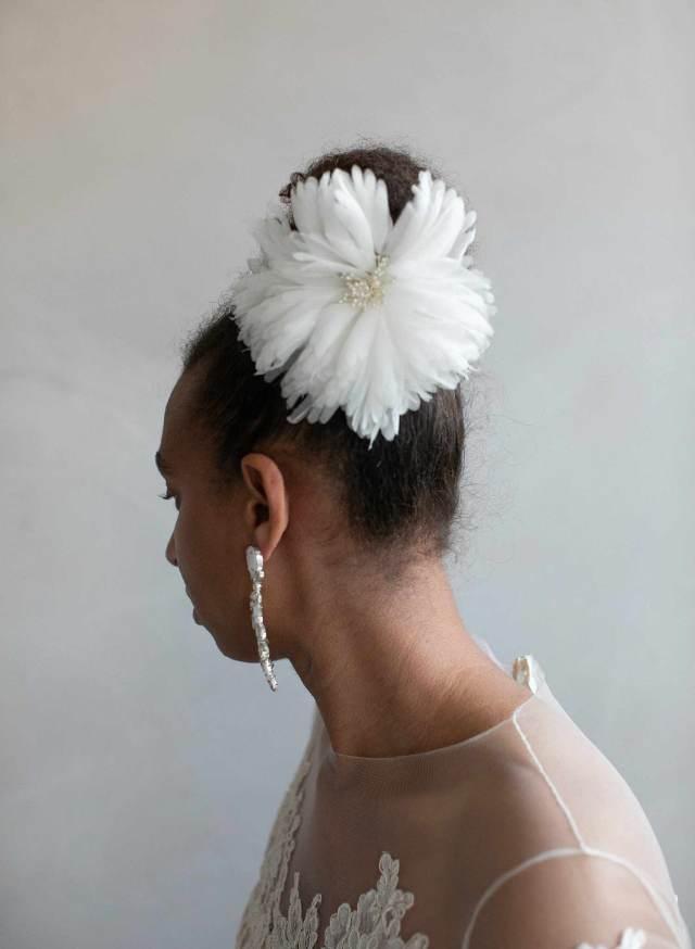 silk flower bridal hair comb - silk chiffon flower comb