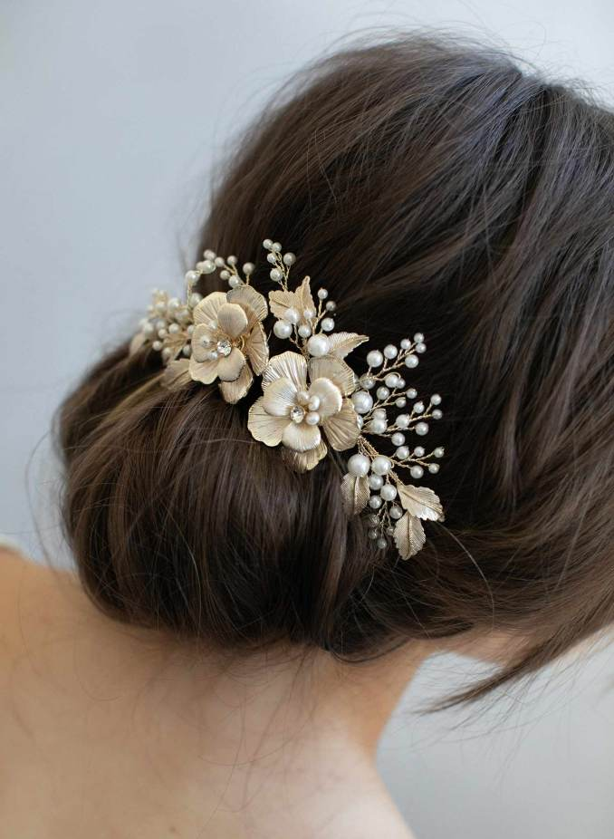 gold flower bridal hair comb - double flower and pearl spray