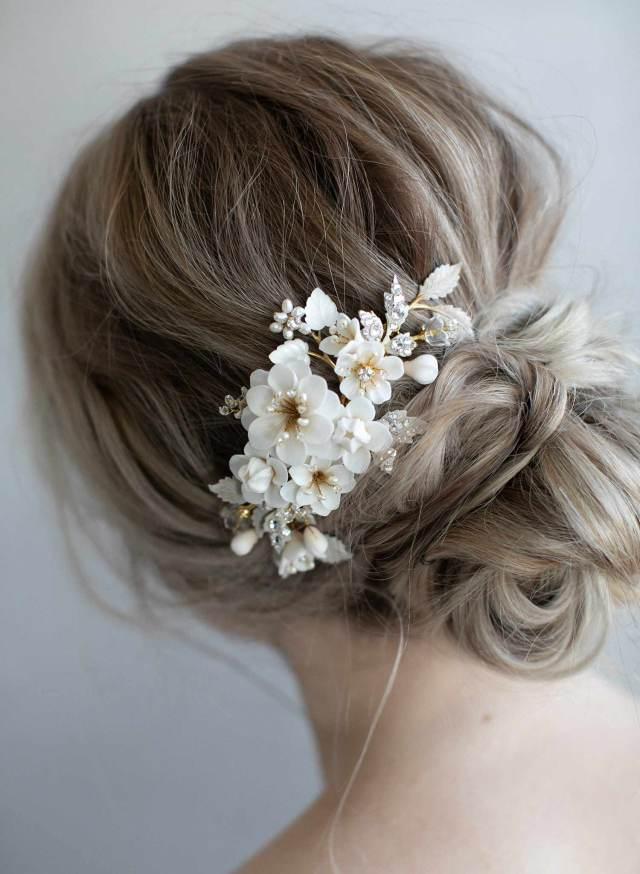 clay flower bridal hair comb - creamy floral petite garden