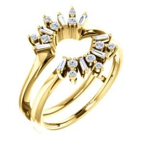 14K Gold & Diamond Art Deco Baguette Ring Guard