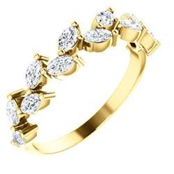 14k Gold & Diamond Marquise Vine Band