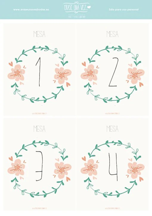 números de mesa imprimibles gratis en español boda