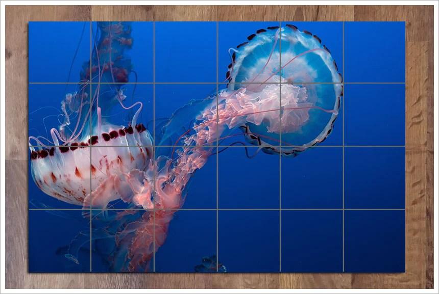 pink jellyfish kitchen backsplash ceramic tile mural ihave4kings