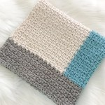 Modern Crochet Baby Blanket For Boys Ocean Blue Grey And Cream Ba