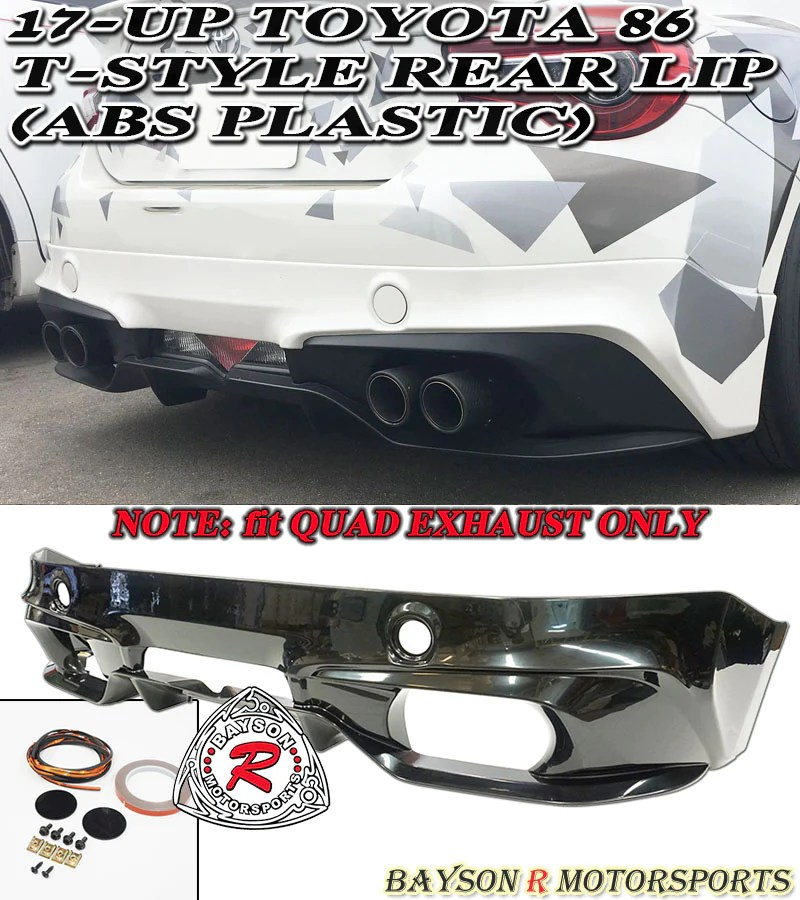 t style rear lip for 2017 2021 toyota 86 quad exhaust