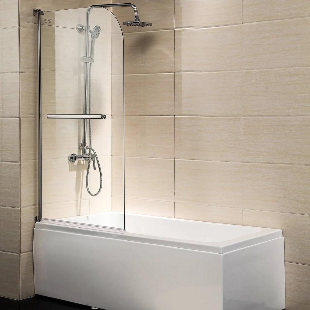 Shower Door 55 X31 Glass Enclosure Hinged Bathtub Door Frameless 1 4 Clear Glass Over 180 Pivot Radius Chrome Finish
