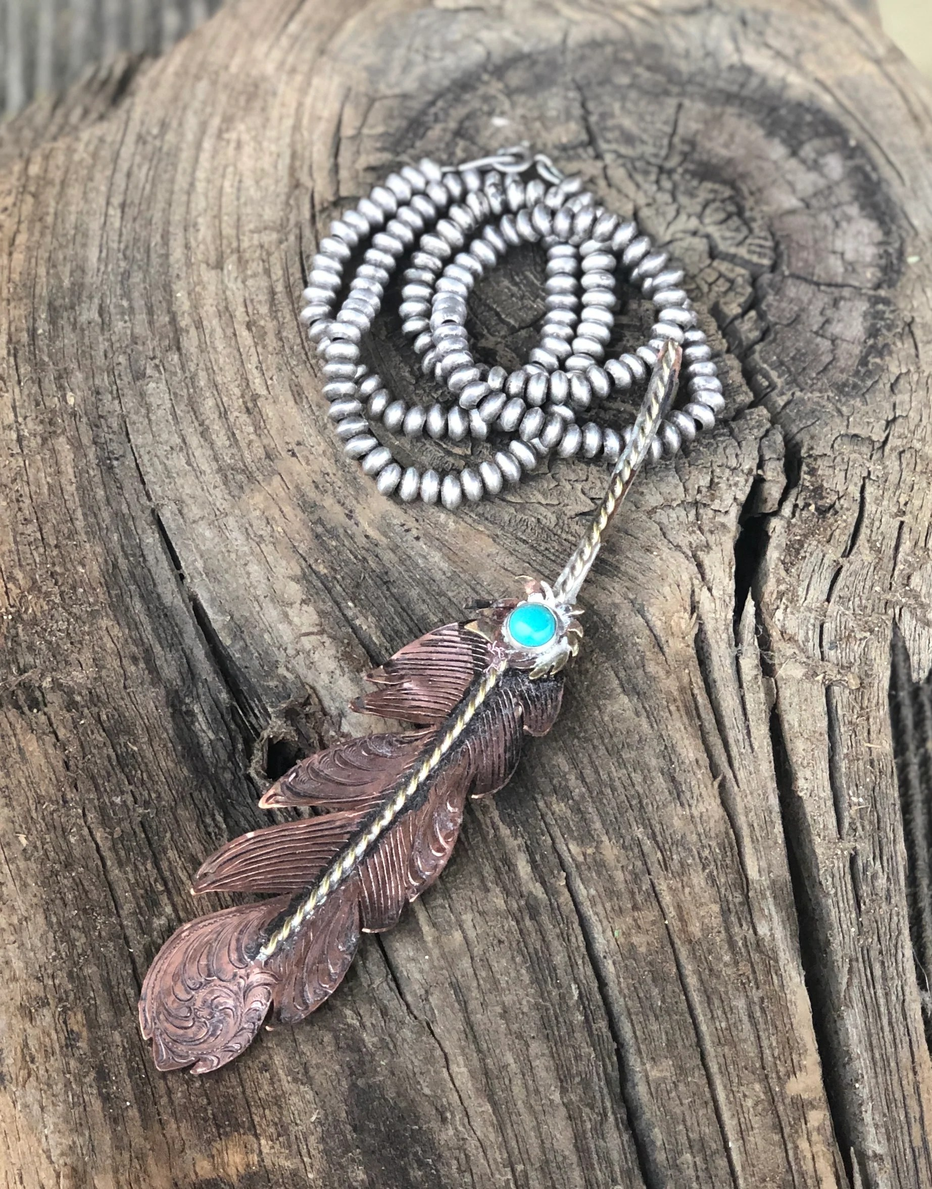 Handmade Copper Feather Pendent