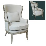 French Upholstered Accent Armchair Linen Wood Accented Back Furniture On Main