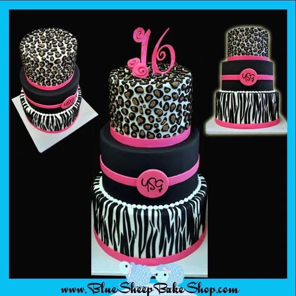 Animal Print Sweet 16 Birthday Cake Blue Sheep Bake Shop