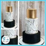 Black And Gold Marbled Wedding Cake Blue Sheep Bake Shop