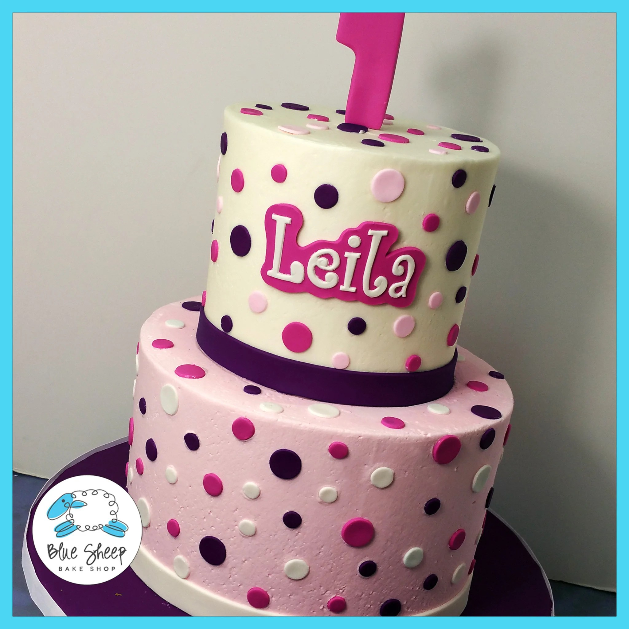 Polka Dot Buttercream Birthday Cake Blue Sheep Bake Shop