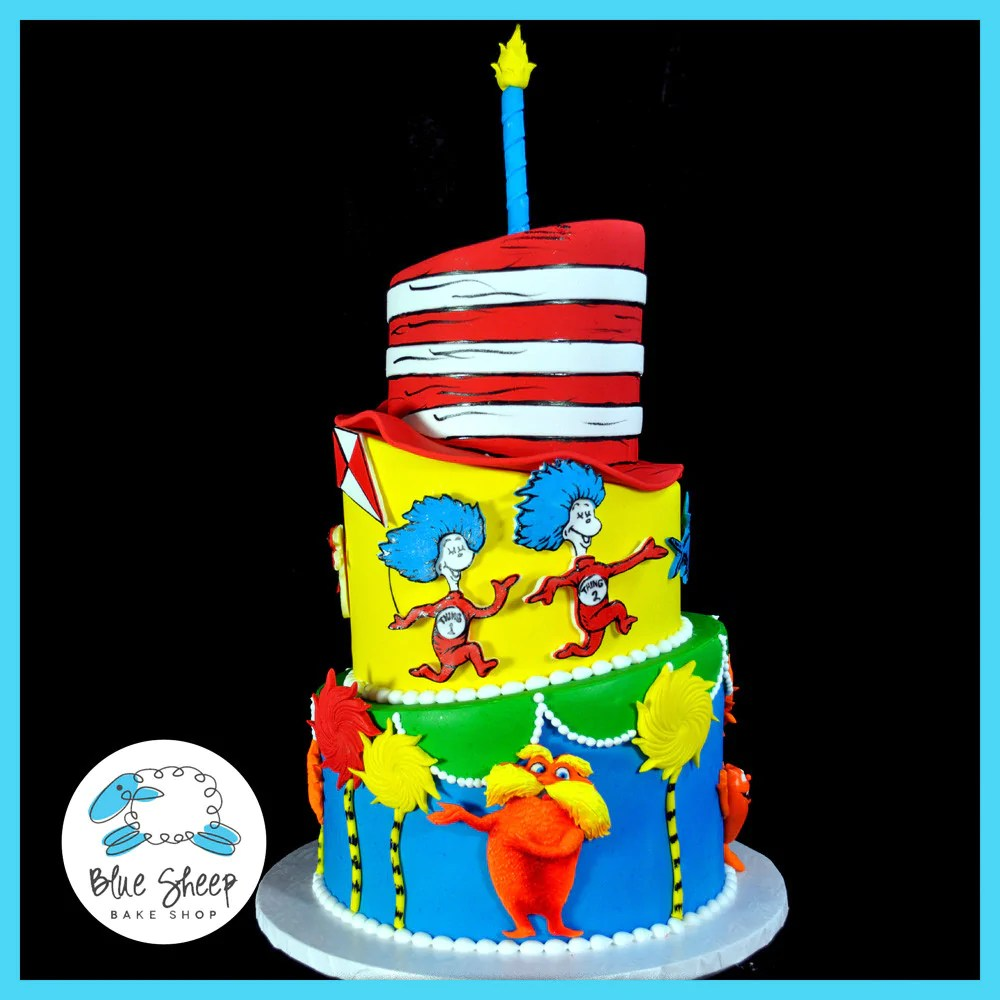 Dr Seuss 1st Birthday Cake Blue Sheep Bake Shop