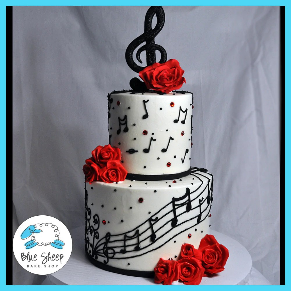 Music Note Birthday Cake Blue Sheep Bake Shop