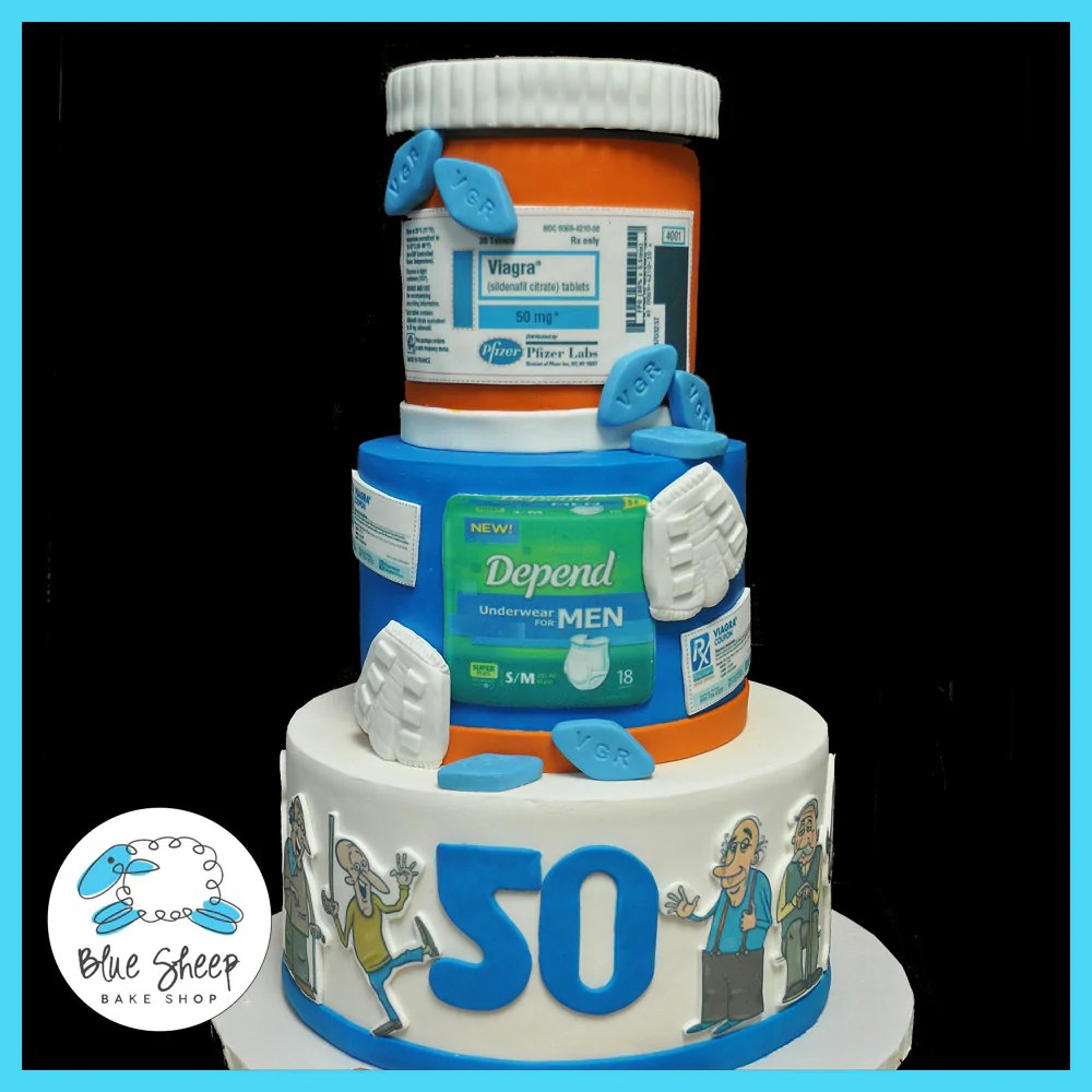 Over The Hill Cake 50th Birthday Cake Blue Sheep Bake Shop