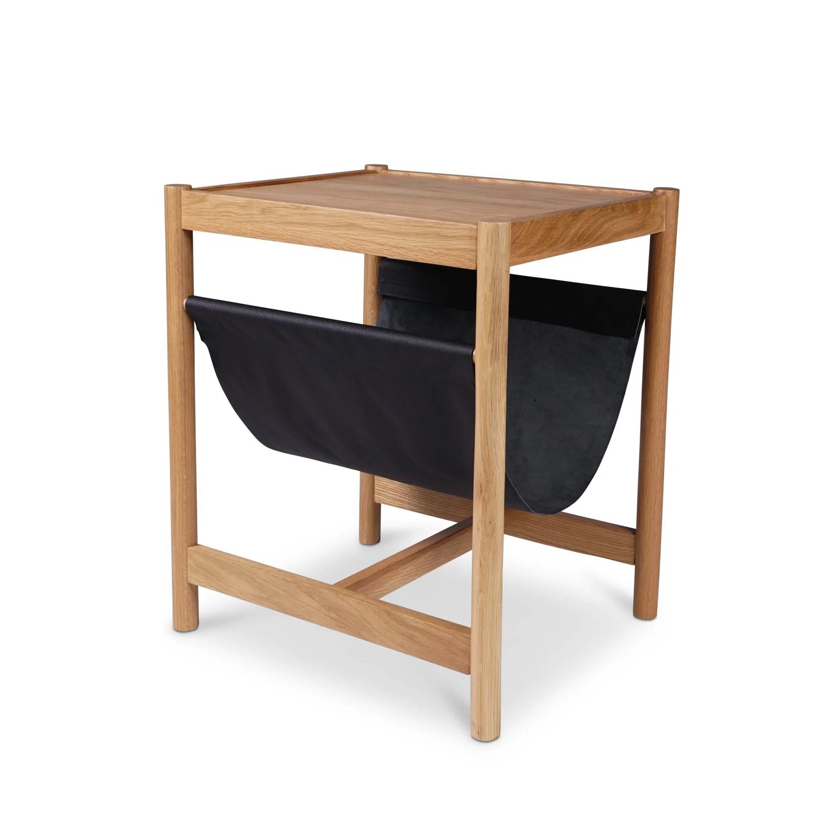 forest oak side table black leather
