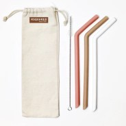RSQUARED™ Reusable Large Silicone Straw 3PK Matte Color (White Latte Rose)