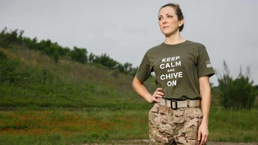 Men s Military Keep Calm   Chive On Tee   Military Green     The Chivery Click to zoom
