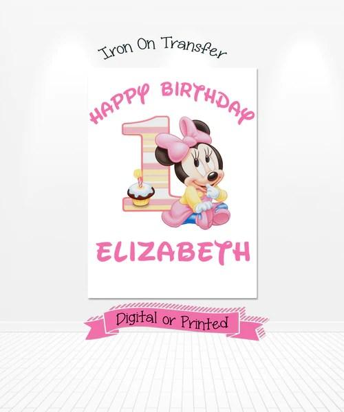 Baby Minnie Mouse Birthday Iron On Design Balloonsforeverythingonline
