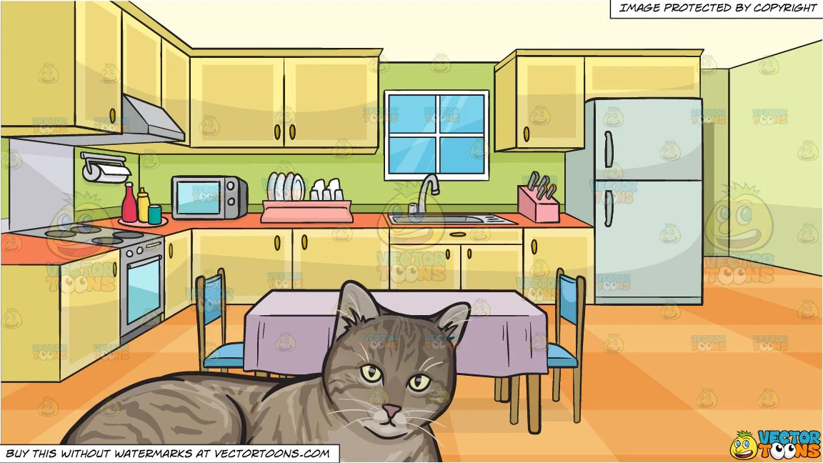 A Resting Striped Cat and A Family Kitchen With A Dining ... (1152 x 648 Pixel)
