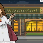 Jesus Christ The Redeemer And Outside A Fancy Restaurant Background Clipart Cartoons By Vectortoons