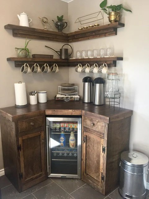 Corner Coffee Station With Floating Shelves Custom